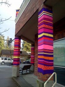 A glorious bit of yarn bombing In Seattle, @darkkatpouncing  Love the vibrant stripes! #yarnbomb