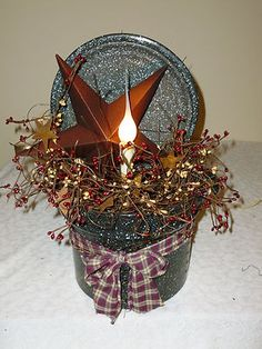 Add a hurricane candle holder to this display for a perfect fall or winter decoration. Christmas Candles, Cozy Christmas, Country Christmas, Christmas Decorations, Prim Decor, Rustic Decor, Primitive Crafts, Primitive Stars, Primitive Country