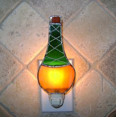 Chianti Wine Bottle Stained Glass Night by StainedGlassJewels, $22.95