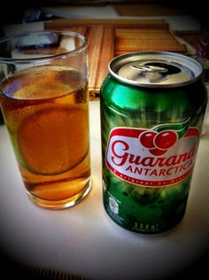 Guarana soda. A very common soda here in Brazil. Guarana is a plant from the amazons. They say that it contains about twice the caffeine found in coffee beans. It's delicious!