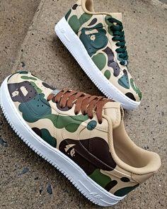Best nick name gets a Bape key chain/hang tag! Nike Fashion, Sneakers Fashion, Sneakers Nike, Custom Sneakers, Custom Shoes, Nike Tenis, Nike Shoes Air Force, White Nike Shoes, Fresh Shoes