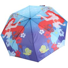 Disney The Little Mermaid Under The Sea Compact Umbrella ($15) ❤ liked on Polyvore featuring accessories, umbrellas, black, print umbrella, disney umbrella and disney