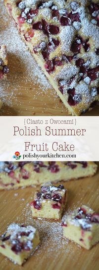 Simple Polish Summer Fruit Cake, buttery and light, with any fruit that are in y. - Simple Polish Summer Fruit Cake, buttery and light, with any fruit that are in your garden or marke - Polish Cake Recipe, Polish Recipes, Polish Food, Polish Nails, 3d Nails, Baking Recipes, Cake Recipes, Dessert Recipes, Just Desserts