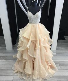 On Sale Colorful Champagne Prom Dress Unique Champagne Tulle Sequin Long Prom Dress, Champagne Evening Dress Open Back Prom Dresses, Simple Prom Dress, Unique Prom Dresses, Backless Prom Dresses, A Line Prom Dresses, Dress Long, Wedding Dresses, Grad Dresses, Long Dresses