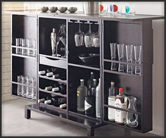 Cute minibar and nice cabinet when closed. Great for small spaces.