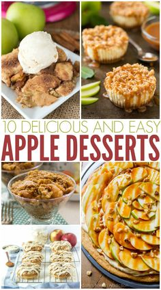 Delicious & Easy Apple Desserts Ten delicious and easyTen delicious and easy Apple Dessert Recipes, Great Desserts, Köstliche Desserts, Summer Desserts, Sweets Recipes, Holiday Desserts, Apple Recipes, Pumpkin Recipes, Fall Recipes