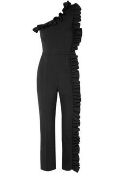 MSGM | One-shoulder ruffled crepe jumpsuit | NET-A-PORTER.COM