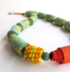 Aqua and Orange unique fiber necklace  Spring Joy by Gilgulim, $55.00