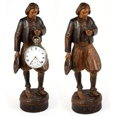 Antique Hand Carved Black Forest Man Figure is a Pocket Watch Holder from antiques-uncommon-treasure on Ruby Lane