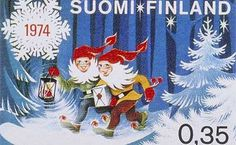 Stamp: Christmas Dwarfs in a Winter Forest, Stylised Snow-crystal (Finland) (Christmas) Mi:FI Noel Christmas, Christmas Cards, Winter Forest, Commemorative Stamps, Postage Stamp Art, Nostalgia, Good Old Times, Penny Black, Mail Art