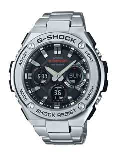Amazon.com: Casio Men's 'G SHOCK' Quartz Resin and Stainless Steel Casual Watch, Color:Silver-Toned (Model: GST-S110D-1ACR): Casio: Clothing