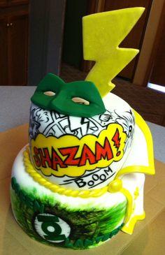 Comic book, shazam, green lantern cake :)