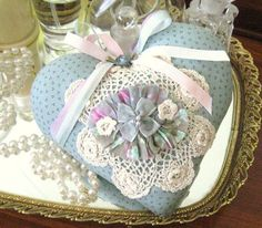Sachet Heart Cottage Chic RUFFLED with Lavender by CharlotteStyle, $12.50
