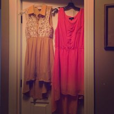 Two fabulous dresses! Worn once! The pink dress is so comfy and fades to orange and yellow at bottom and is XL. Yellow one fits so cute and is size L. Missing button, but you can use the button from top if need be or wear a cami! Dresses Midi