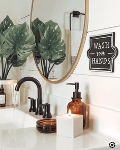 3 - Wall Sign Wash Your Hands Black - Hearth & Hand™ with Magnolia Apothecary Bathroom, Bathroom Counter Decor, Apothecary Decor, Boho Bathroom, Simple Bathroom, Bathroom Furniture, Design Bathroom, Shiplap Bathroom, Bathroom Colors