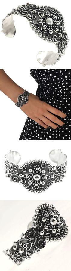 Bracelets 98489: Taxco Vintage Style 925 Baroque Cuff Bracelet | Mexico Sterling Silver Jewelry -> BUY IT NOW ONLY: $99.95 on eBay!