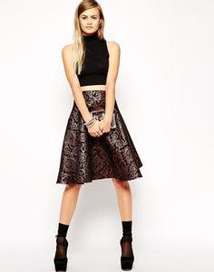 ASOS Midi Skirt in Metallic Jacquard