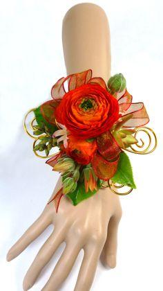 Gorgeous Orange Ranunculus Wrist Corsage with Succulents Wrist Corsage Wedding, Flower Bouquet Wedding, Ranunculus, Buttonholes, Flower Arrangements, Succulents, Floral, Orange, Ffa