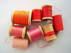 Vintage Thread on Wooden Spools, Red, Pink, and Orange, Unique Art Supply, Collage Thread, Altered Art Supply, Mixed Media Supply by ThrowItForward on Etsy