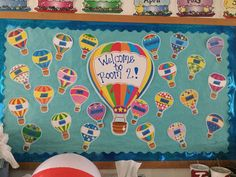 Preschool, Sky VBS, hot air balloons, kids names, boards, classroom decorations