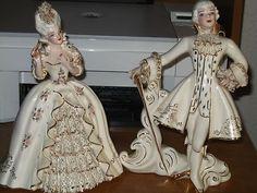 RARE VINTAGE FLORENCE CERAMICS - MARIE ANTOINETTE & LOUS XVI FIGURINES