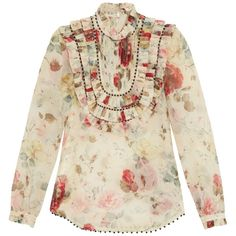 Zimmermann Mischief floral-print silk-organza blouse (3.770 RON) ❤ liked on Polyvore featuring tops, blouses, white multi, floral print blouse, white top, flower print top, floral top and floral blouse