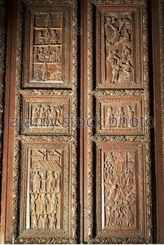 Rome Italy Basilica of Santa Sabina Detail of fifth century cypress wood doors carved with scenes from the New Testament