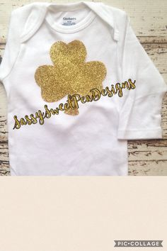 Gold Glitter Shamrock...Glitter Onesie.. St.Patrick's Onesie by SassySweetPeaDesigns on Etsy