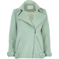 River Island Light green soft aviator coat ($170) ❤ liked on Polyvore featuring outerwear, coats, jackets, coats & jackets, green coat, zip coat, river island, tall coats and long green coat