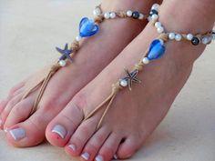 Barefoot sandals. wedding sandals.  boho barefoot sandals, barefoot sandles, crochet barefoot sandals, , yoga, anklet  hippie shoes via Etsy