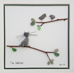 Ready to Ship Pebble Art Pebble Picture Cat Picture