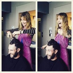 Photo: Getty Images Usually, you think of celebs spending zillions of dollars on haircuts and dye jobs—but not Adam Levine!The Voice coach and Maroon 5 frontman debuted a new, shorter 'do Tuesday night, courtesy of his apparently multi-talented model wife, Behati Prinsloo.  The South African Victoria