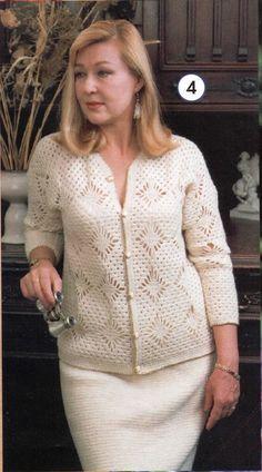 Patrón de Cardigan blanco al crochet con rombos