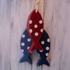 hanging fish_denim blue / country red / french navy spots