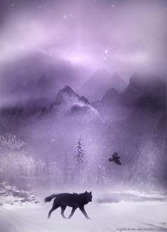 Wolf. Winter's Way by wyldraven.deviantart.com on @deviantART