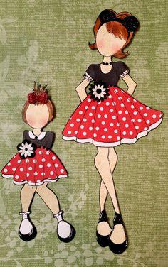 TPHH cheryl  Premade Minnie Mouse Julie Nutting Paper Dolls Scrapbook Album