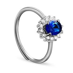 Awesome 925 Sterling Silver Finger Ring, Micro Pave Zirconia Flower with Mazarine AAA Zircon, Platinum; Size:about 18mm inner diameter(Adjustable); Flower: 11x9mm.<br/>Priced per 1