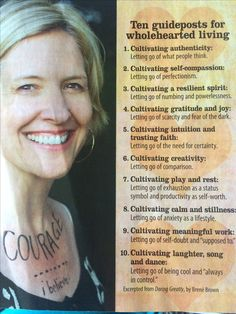 10 guideposts for whole hearted living- Brene Brown