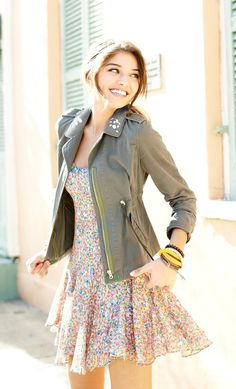 trends: military - dolled up jeweled military jacket and floral dress by heart soul