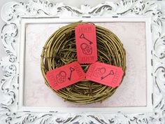 Key To My Heart Tickets, Valentine's Day, Bridal Shower Games, Altered Art, Scrapbooking, Cards, Embellishments, Pad Lock, Key - Set of 25 by GoldenNestStudio on Etsy