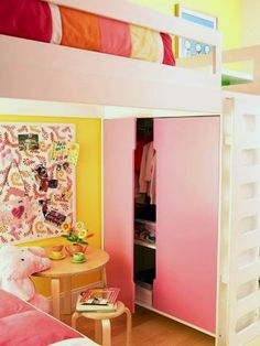 girls loft bed with closet under the bed