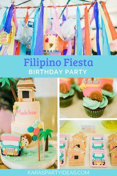 Kara S Party Ideas Filipino Fiesta Birthday-Philippines Fiesta Decorations Fiesta Party Decorations, Fiesta Theme Party, Birthday Party Decorations, Kids Birthday Themes, First Birthday Parties, First Birthdays, 7th Birthday, Asian Party Themes, Party Ideas