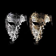 Buy Phantom Laser Cut Venetian Mask Masquerade Metal Men Women Skull Filigree for Party Halloween Silver/Black/Gold at Wish - Shopping Made Fun Masquerade Halloween, Silver Masquerade Mask, Masquerade Ball, Masquerade Party Outfit, Venetian Masquerade, Masquerade Costumes, Halloween Carnival, Mascarade Mask, Half Skull