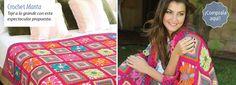 Manta motivos cuadrados - #crochet Una perfecta manta para quienes disfrutan de los diseños coloridos.  Descargala en www.eviadigital.com