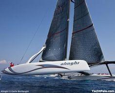 Sailing: The America's Cup sailing catamaran, one of the most advanced catamarans ever built.