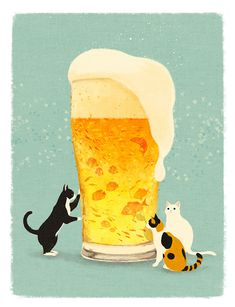 "shino's illustration works — さけのさかにゃ ""cat's and beer"" © shino All rights. Art And Illustration, Cat Illustrations, Japanese Illustration, Doja Cat, Art Graphique, Cat Drawing, Crazy Cats, Cat Art, Illustrators"