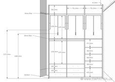 Dressing table plans and elevation - hudson Wardrobe Interior Design, Wardrobe Door Designs, Wardrobe Design Bedroom, Diy Wardrobe, Closet Designs, Wardrobe Ideas, Walk In Closet Size, Walk In Closet Dimensions, Wardrobe Dimensions