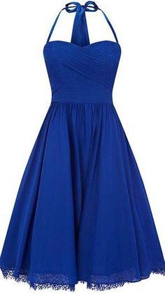 Blue halter top bridesmaid dress for vintage wedding @myweddingdotcom