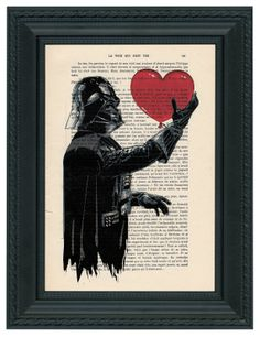 Dark Vador / Darth Vader Star Wars Art Print, Heart Poster, Star Wars Print on very old Book Paper, Hollywood Poster Artwork Movie on Etsy, $8.45