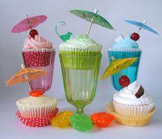 Cocktail Cupcakes  |  Strawberry Daiquiri Cupcakes, Blue Hawaii Cupcakes, Margarita Cupcakes, Pina Colada Cupcakes, Mai Tai Cupcakes